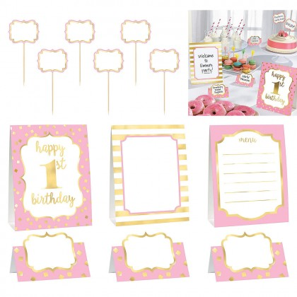 1st Birthday Buffet Decorating Kit Hot-Stamped Paper - Pink