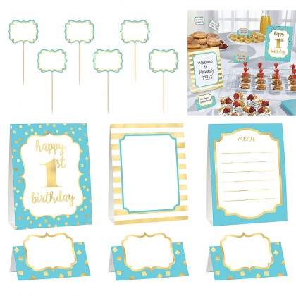 1st Birthday Buffet Decorating Kit Hot-Stamped Paper - Blue