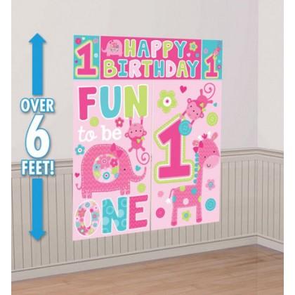 """One"" Wild Girl Scene Setters® Wall Decorating Kit - Plastic"
