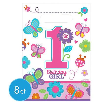 1st Birthday Girl Loot Bags - Plastic