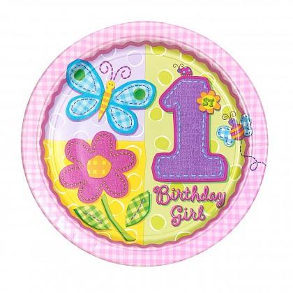 "Hugs & Stichers Girl 7"" Round Plate"