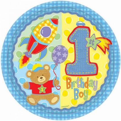 """Hugs & Stiches Boy 10 1/2"""" Round Plate"""