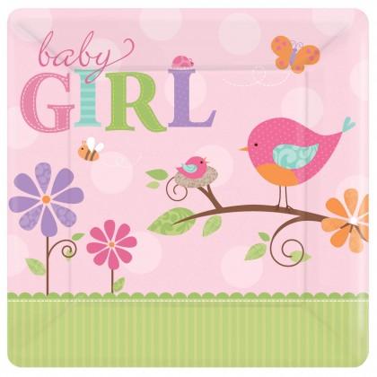 """Tweet Baby Girl 10 1/4"""" Square Plate"""