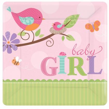 """Tweet Baby Girl 7"""" Sqaure Plate"""