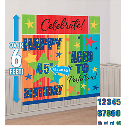 A Year To Celebrate - Happy Birthday Cust. Scene Setters® Wall Dec. Kit