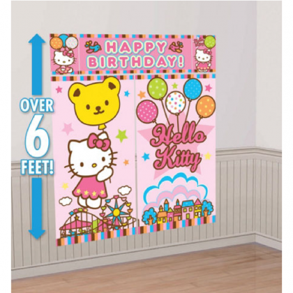 Hello Kitty® Balloon Dreams Scene Setters® Wall Decorating Kit - Plastic