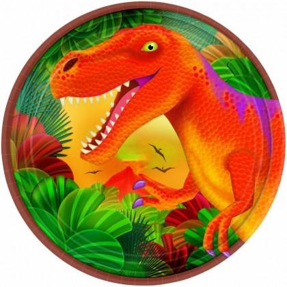"Prehistoric Party Round Metallic Plates, 7"""