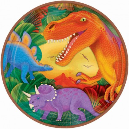 "Prehistoric Party Round Metallic Plates, 9"""