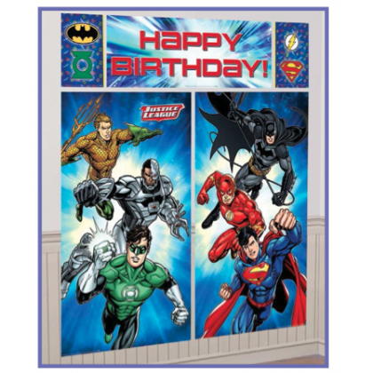 Justice League™ Scene Setters® Wall Dec. Kit - Plastic