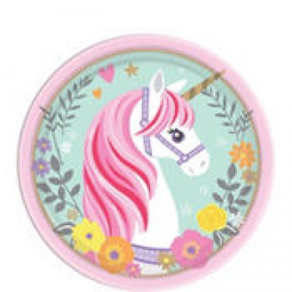 Magical Unicorn Round Plates 7in