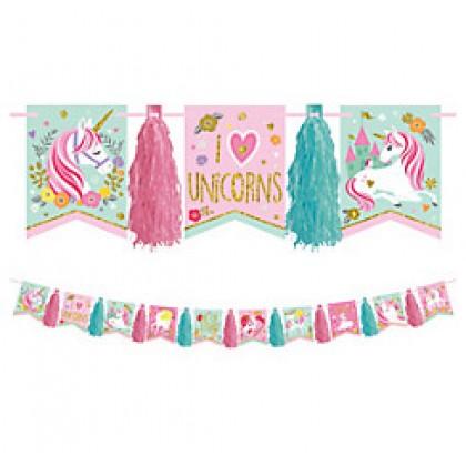 Magical Unicorn Pennant Tassel Garland - Glitter
