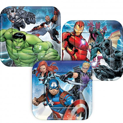 "Marvel Epic Avengers Square Plates, 7"""