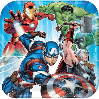 "Marvel Epic Avengers Square Plates, 9"""
