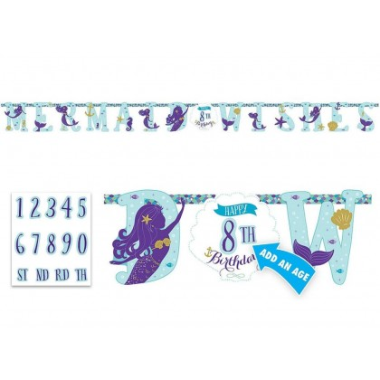 Mermaid Wishes Jumbo Add-An-Age Letter Banner - Printed Paper