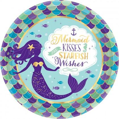 """Mermaid Wishes Round Metallic Plates, 9"""""""
