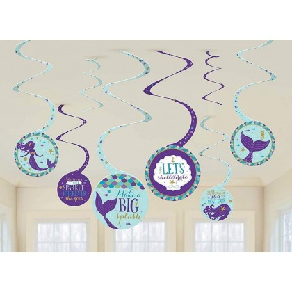 Mermaid Wishes Spiral Decorations - Printed Paper