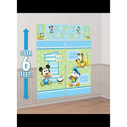 ©Disney Mickey's 1st Birthday Scene Setters® Wall Decorating Kit