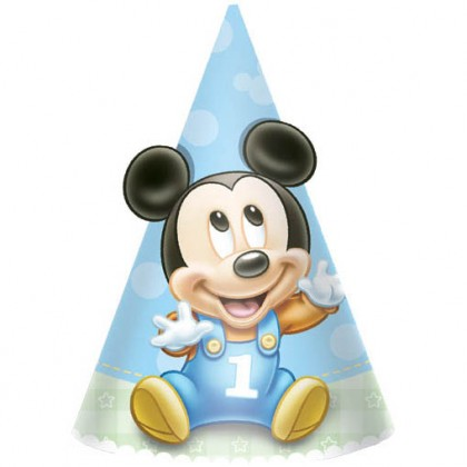©Disney Mickey's 1st Birthday Cone Hats - Paper