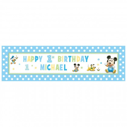©Disney Mickey's 1 st Birthday Personalized Giant Sign Banner - Plastic