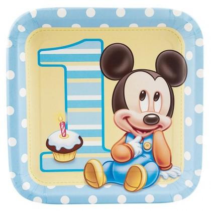 "©Disney Mickey's 1st Birthday Square Plates, 9"""