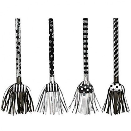 "17 1/2"" Fringed Blowouts - Black & White Foil"