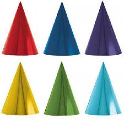 "7"" Cone Party Hats - Rainbow Foil Paper"