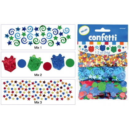 1.2 oz. Happy Birthday Boy - Metallic Value Pack Confetti Mixes