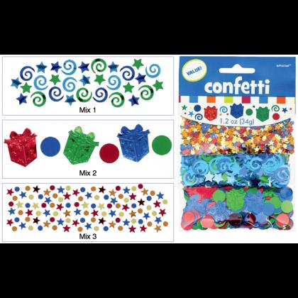 1.2 oz. Happy Birthday Boy - Metallic Value Pack Confetti Mixes