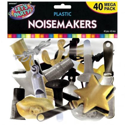 "12"" x 9"" (Pkg. Size) Mega Value Pack Noisemakers Plastic - Black, Silver & Gold"