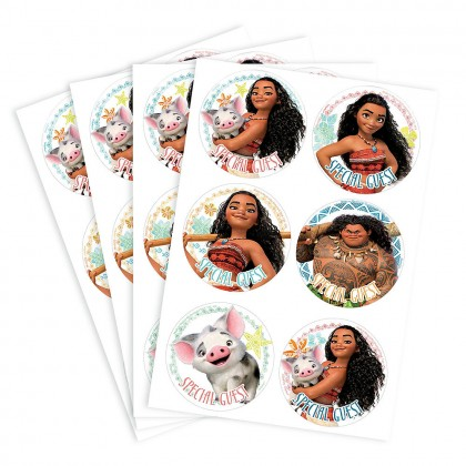 Disney Moana Party ID Stickers - Printed Paper