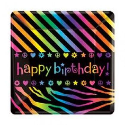 "Neon Birthday Square Plates, 7"""