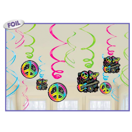 Neon Birthday Value Pack Foil Swirl Decorations