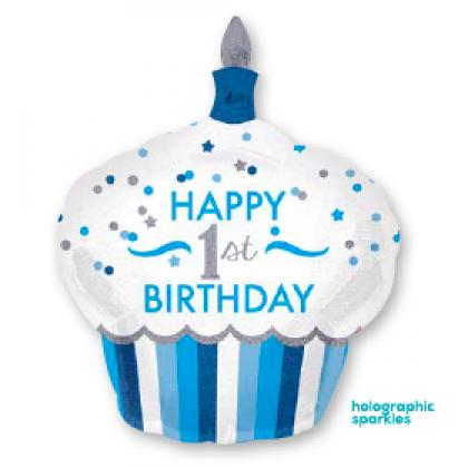 "P40 36"" 1st Birthday Cupcake Boy Holographic SuperShape™"