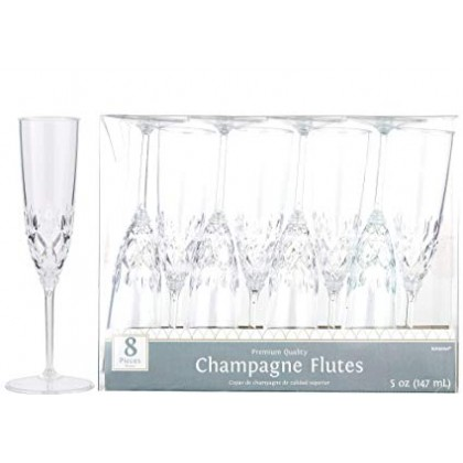 4.2oz Crystal Look Champagne Flutes Plastic - Clear