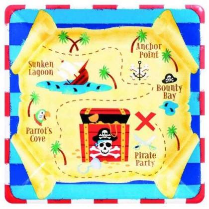 """Pirate's Treasure Square Plates, 10"""""""