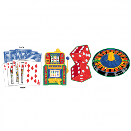 Place Your Bets Cards Party Casino Cutout Assortment - Printed Paper