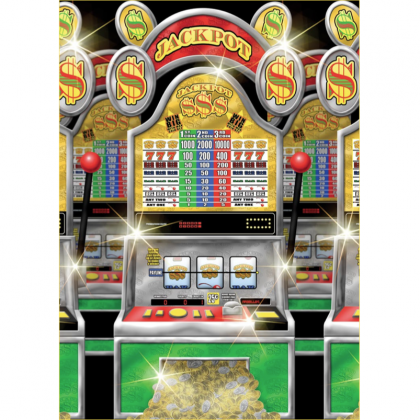 Place Your Bets Casino Slot Machine Scene Setters® Room Roll - Plastic