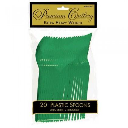 Plastic Spoons - Festive Green