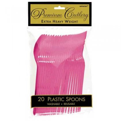Plastic Spoons - Bright Pink