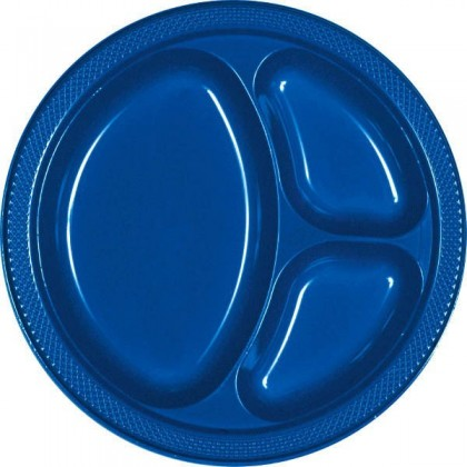 """Bright Royal Blue Festive Occasion® Plastic Tableware Divded Plate, 10 1/4"""""""