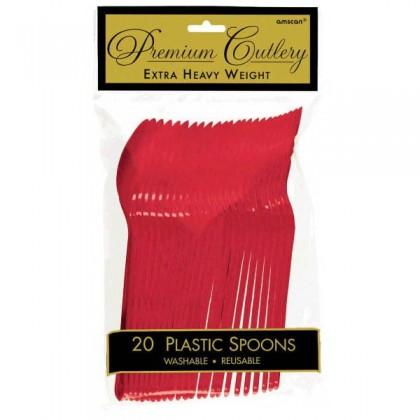 Plastic Spoons - Apple Red