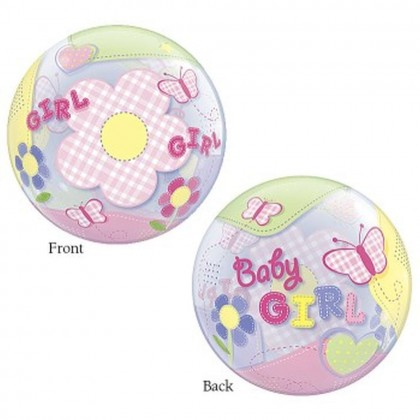 """Q 22"""" Baby Girl ButterFlies Bubble Balloon"""