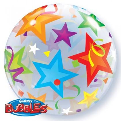 "Q 22"" Stars And Swirls Bubble BalloonQ 22"" Stars And Swirls Bubble Balloon"