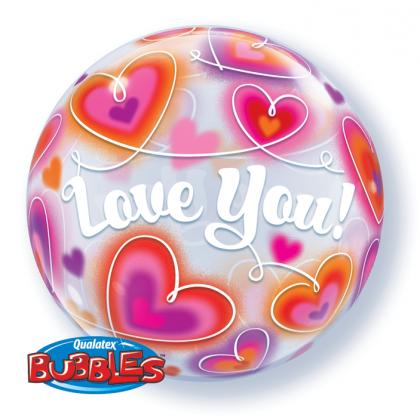 "Q 22"" Love You Doodle Hearts Bubble Balloon"