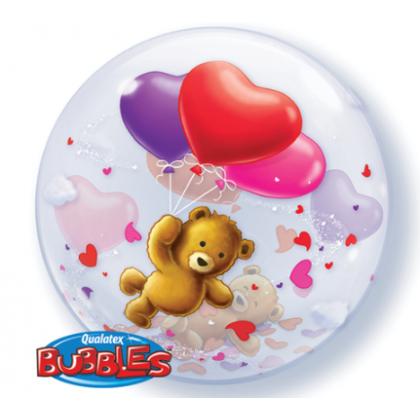 """Q 22"""" Teddy Bear With 3 Heart Bubble Balloon"""