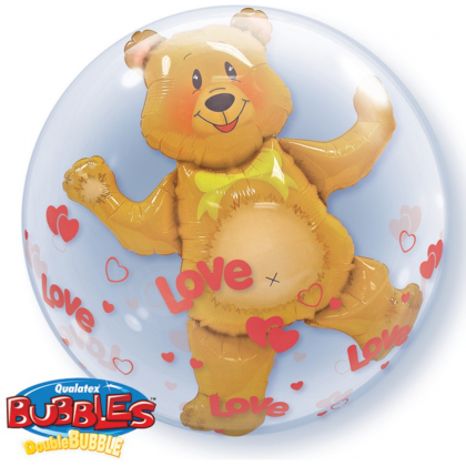 """Q 24"""" Love Teddy Bear DoubleBubble Balloon"""