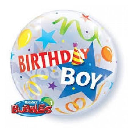"Q 22"" Birthday Boy Party Hat Bubble Balloon"