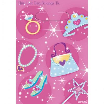 Princess Folded Loot Bags - Plastic