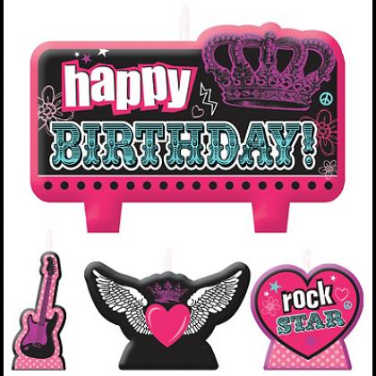 Rocker Princess Birthday Candle Set