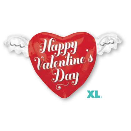 """S50 27"""" Happy Valentine's Day With Wings JuniorShape XL®"""